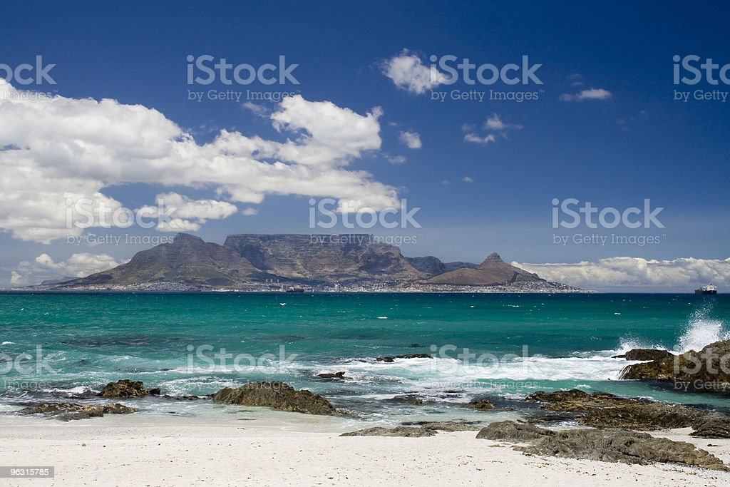 Table mountain in South Africa with blue sea and waves royalty-free stock photo