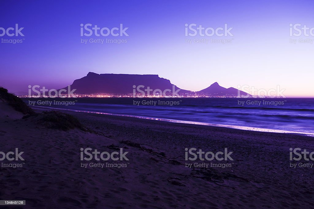 Table Mountain in the violet light of evening stock photo