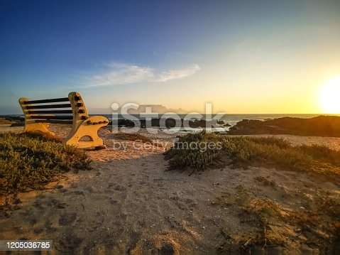 Table Mountain Landscape with Beautiful Colorful Sunset and Clouds on Bench, Cape Town, South Africa