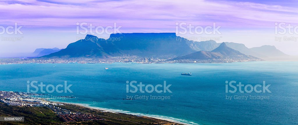 Table Mountain seen from above in Cape Town stock photo