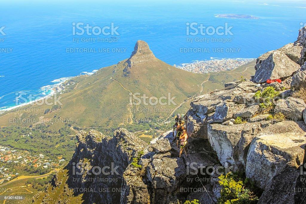 Table Mountain trekking stock photo