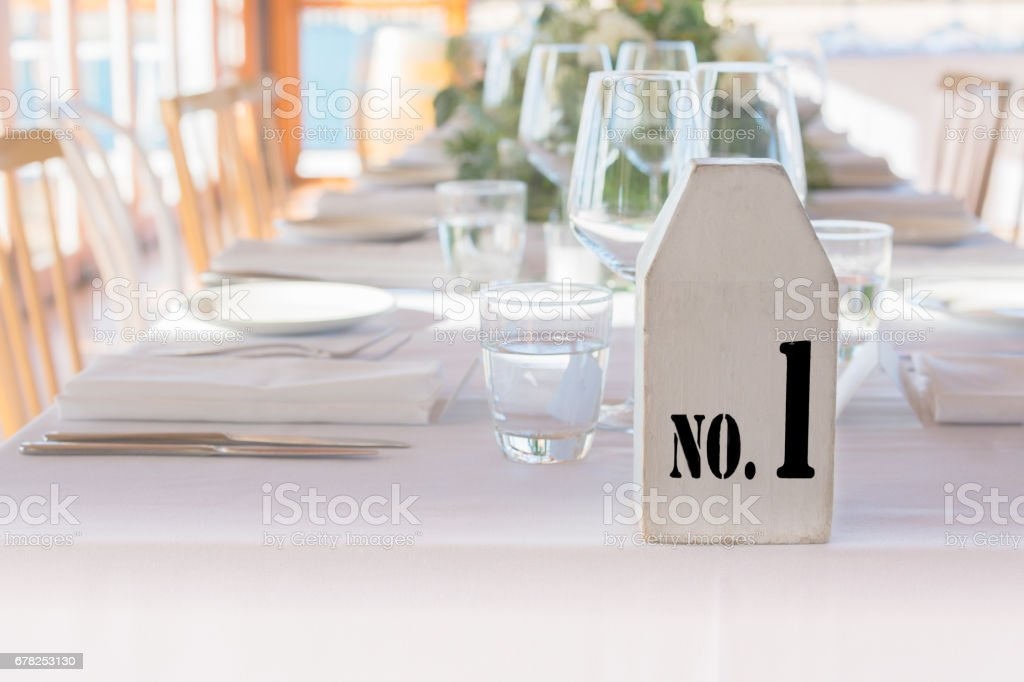 Table number 1 at restaurant stock photo