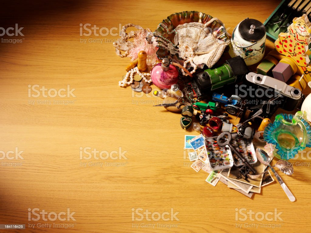 Table of Antiques and Collectables stock photo