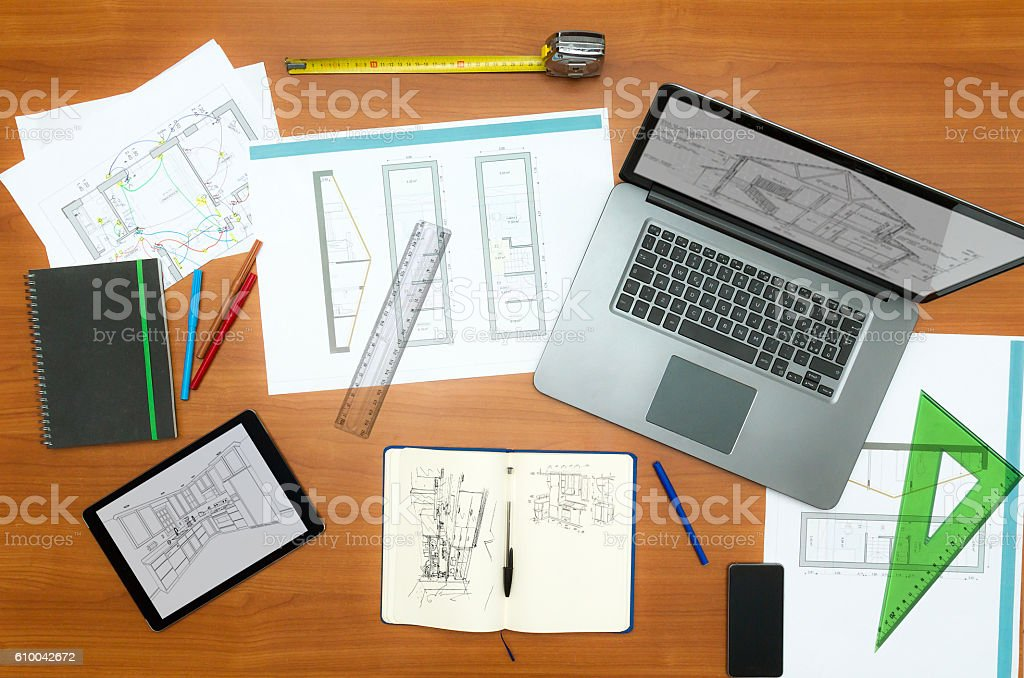 Table of Architects or interior designer stock photo