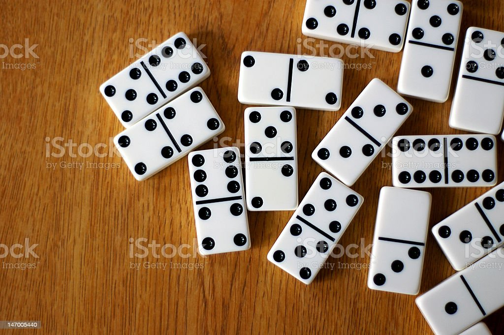 Table of Dominos stock photo