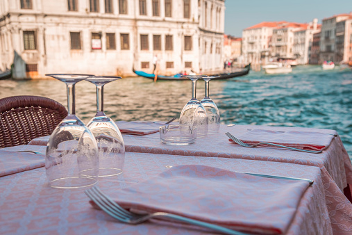 Table of glasses of wine in Venice