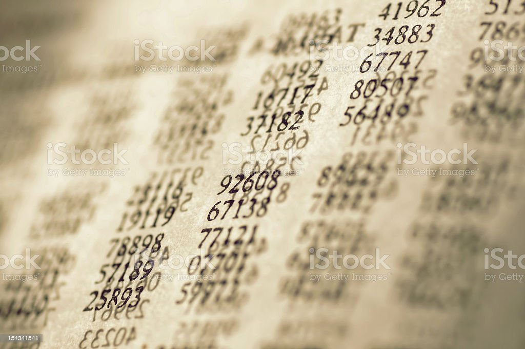 Table of random digits in statistics royalty-free stock photo
