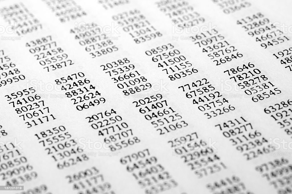 Table of random numbers stock photo