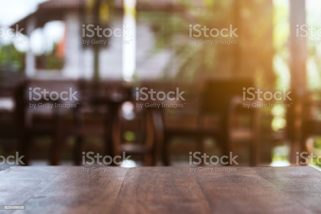 Table Of Retro Wood With Rustic Wooden Interior Farmhouse Background ...