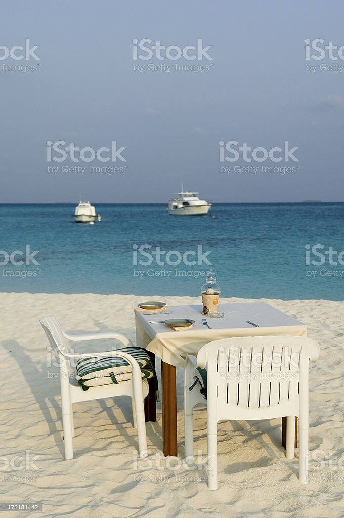 Table on the beach royalty-free stock photo