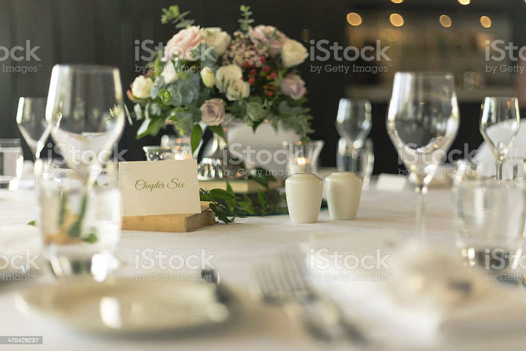 Table Place Card with Bouquet at Wedding Reception royalty-free stock photo