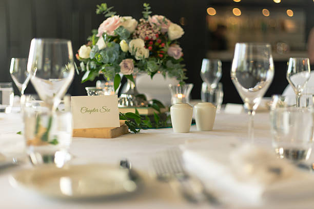 Table Place Card with Bouquet at Wedding Reception stock photo