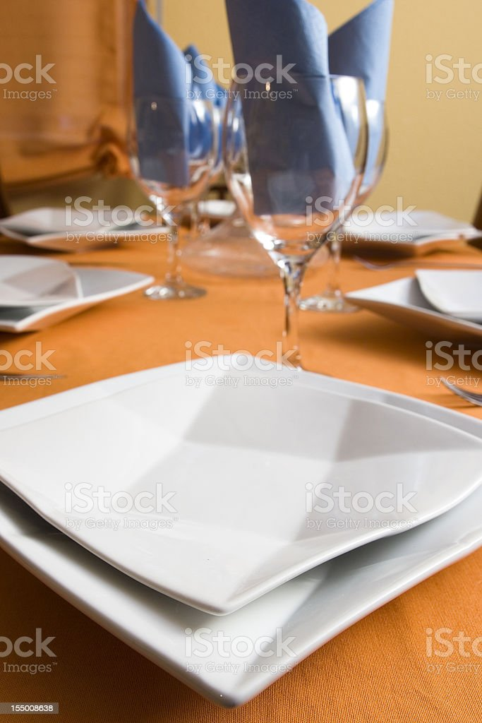 table prepared for dinner stock photo