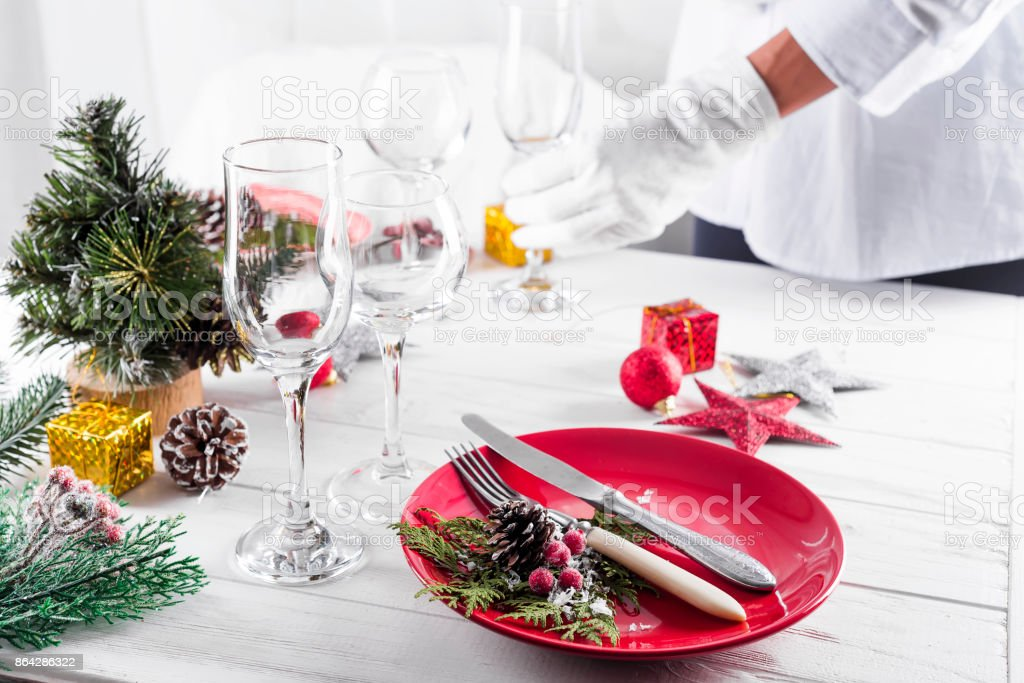 Table served for Christmas dinner in living room royalty-free stock photo