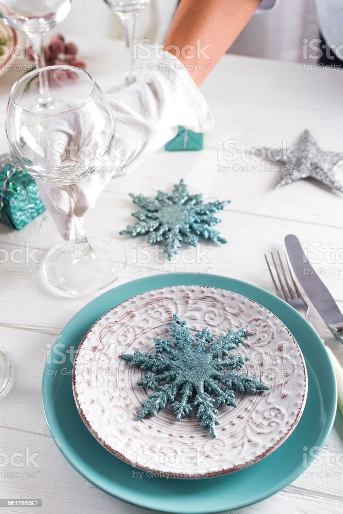 Table served for Christmas dinner royalty-free stock photo