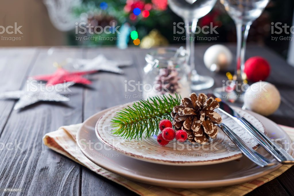 Table served for Christmas dinner stock photo