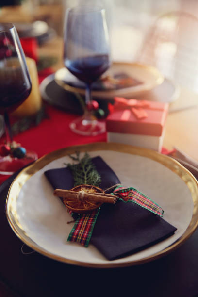 Table served for Christmas dinner stock photo stock photo