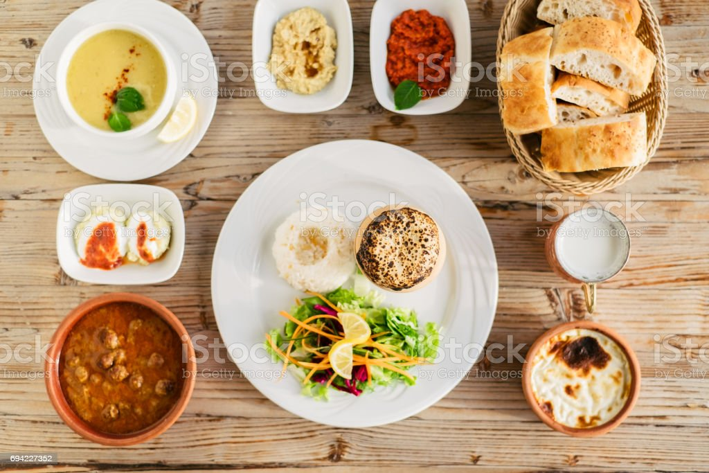 Table served wit traditional turkish dishes stock photo