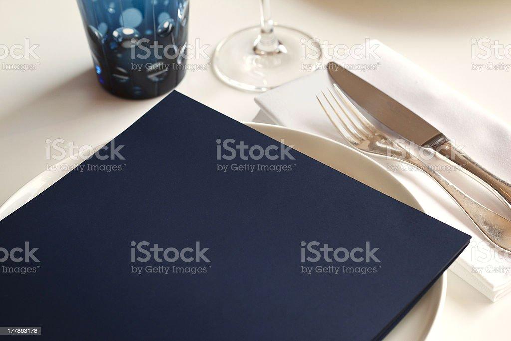 Table set and menu royalty-free stock photo