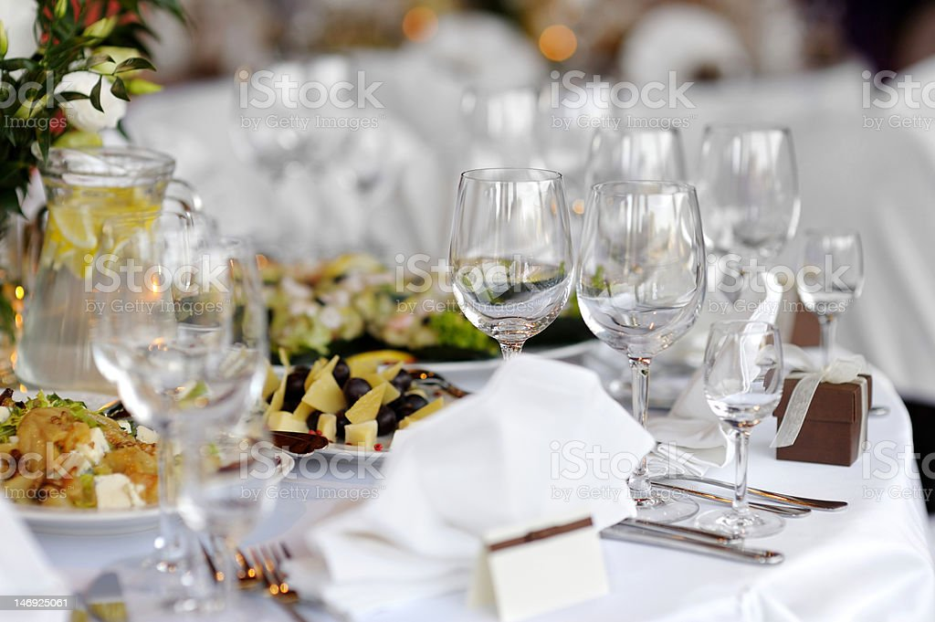 Table set for a festive party or dinne royalty-free stock photo