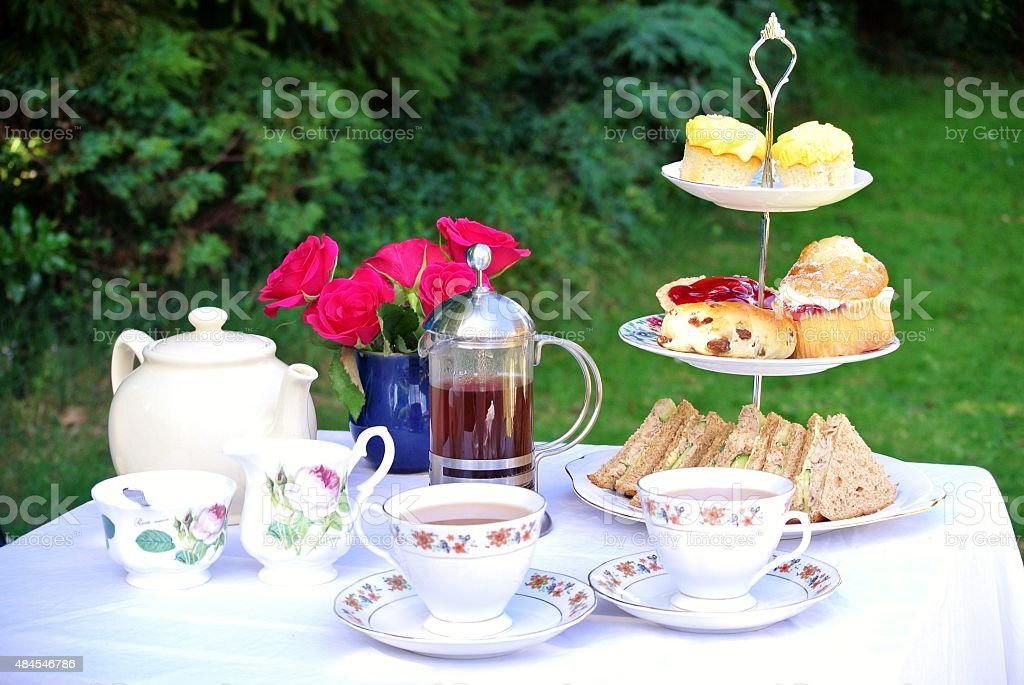 Table set for Afternoon Tea for Two stock photo