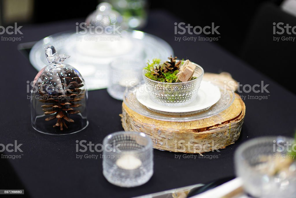 Table set for an event party or wedding reception royalty-free stock photo