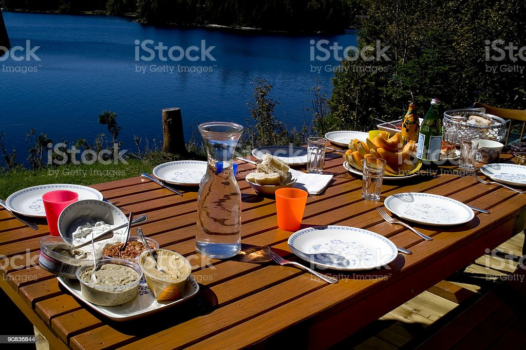 Table set for brunch at the cottage stock photo