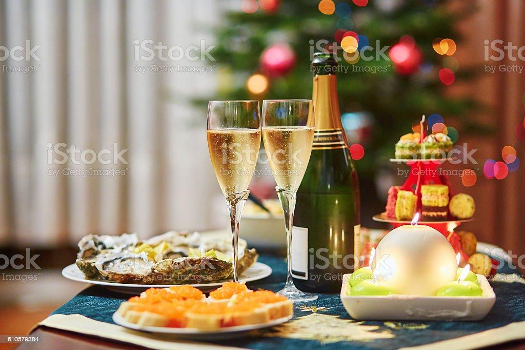 Table set for Christmas dinner stock photo