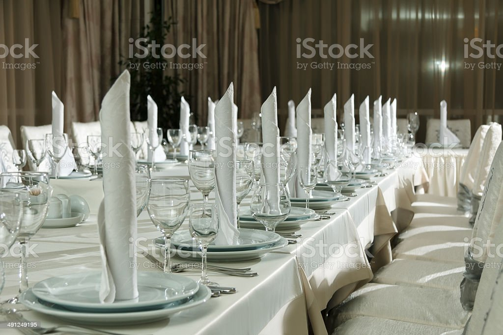 Table set for event party or wedding reception celebration royalty-free stock photo