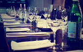 Table set for official dinner, toned