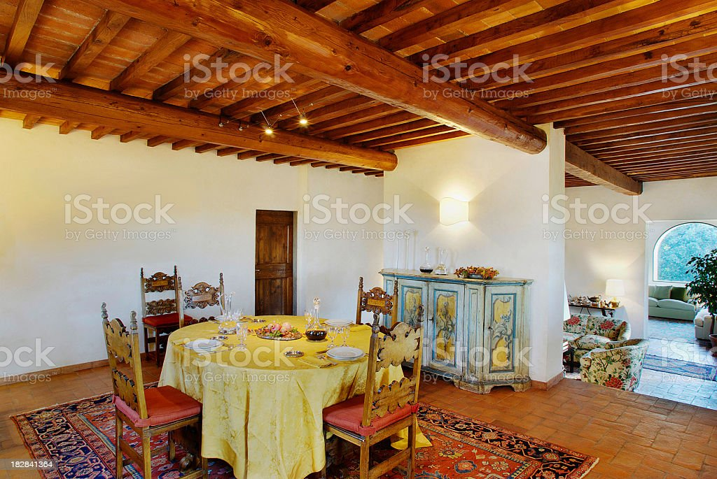 Table set in elegant old style dining room, country house stock photo