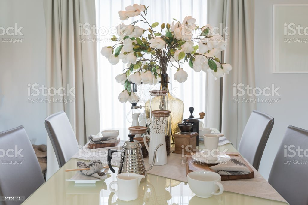 table set on dining table stock photo