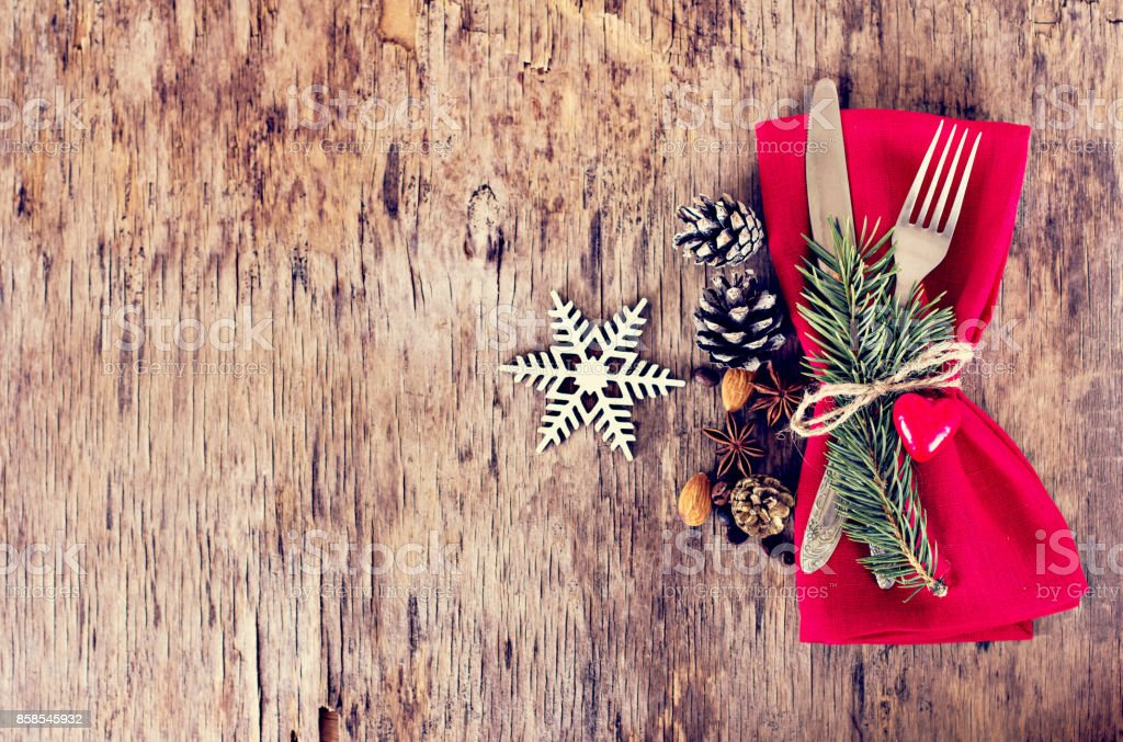 Table set with a winter, Christmas decoration stock photo