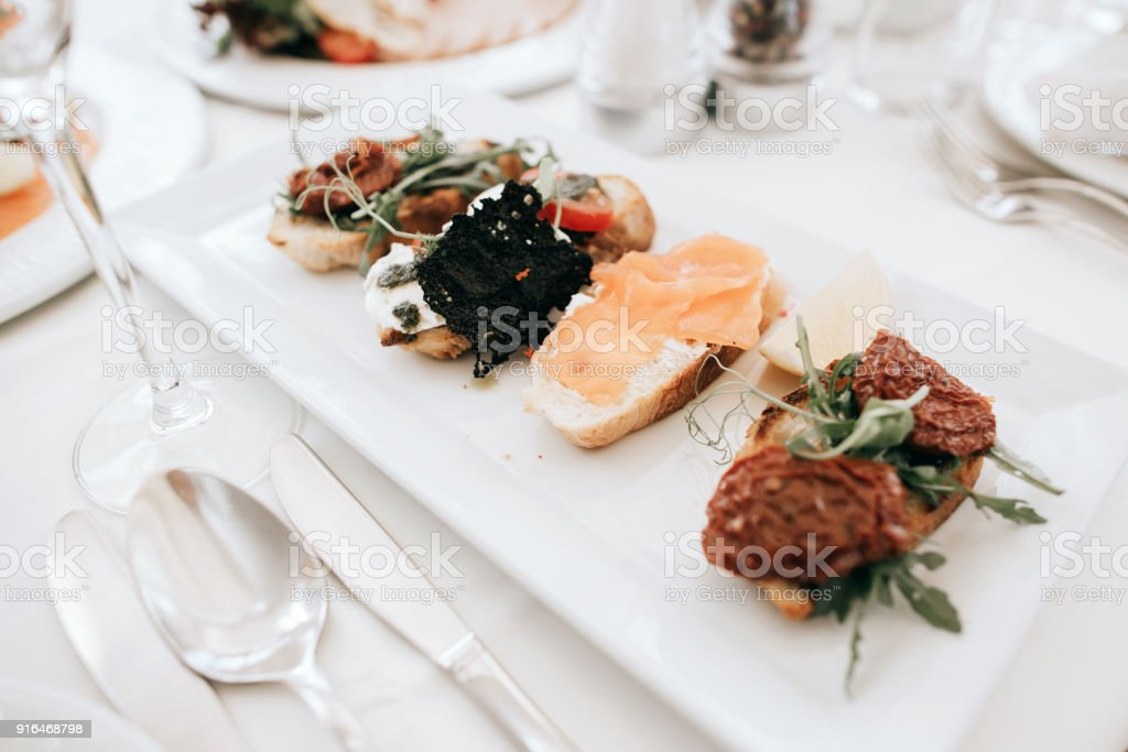 Table Set With Food For An Event Party Or Wedding Reception Stock