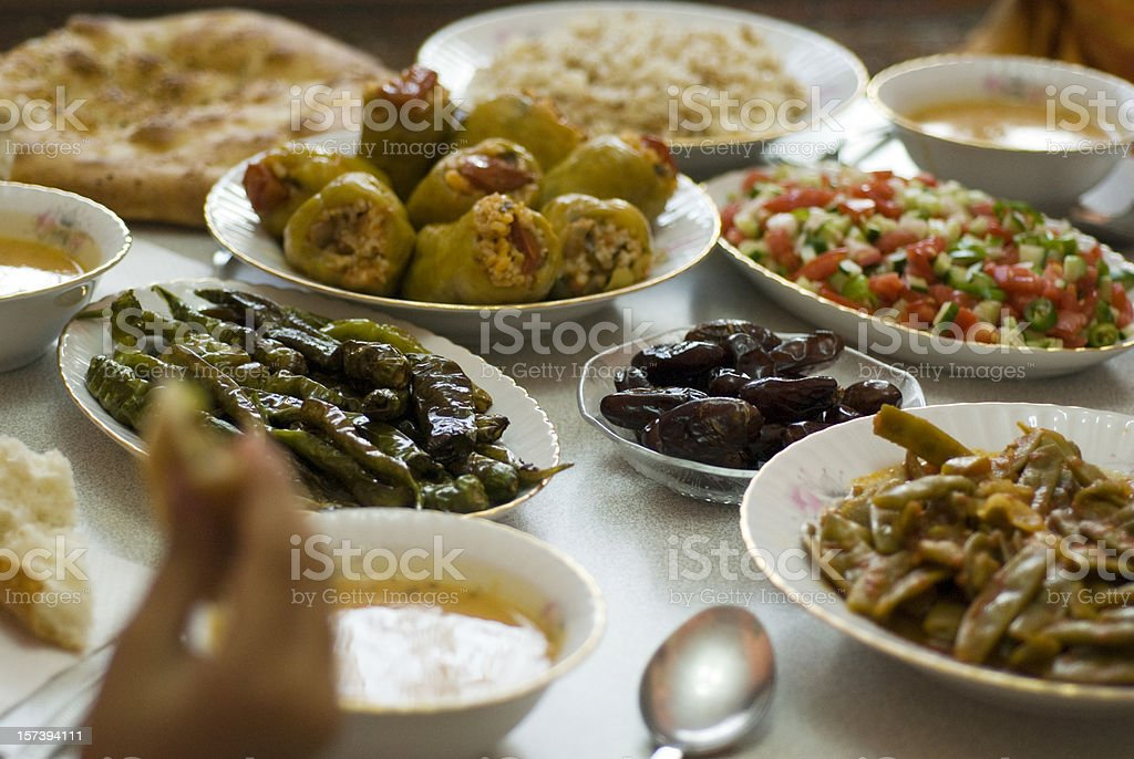 Table set with Ramadan food in Istanbul Turkey stock photo