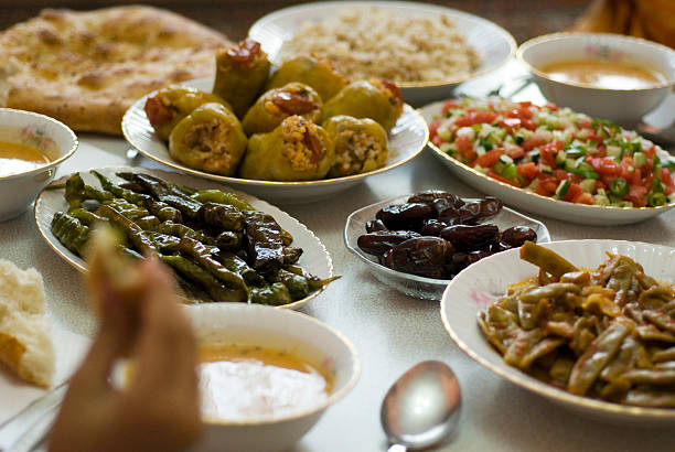 table set with ramadan food in istanbul turkey - ramadan stock photos and pictures