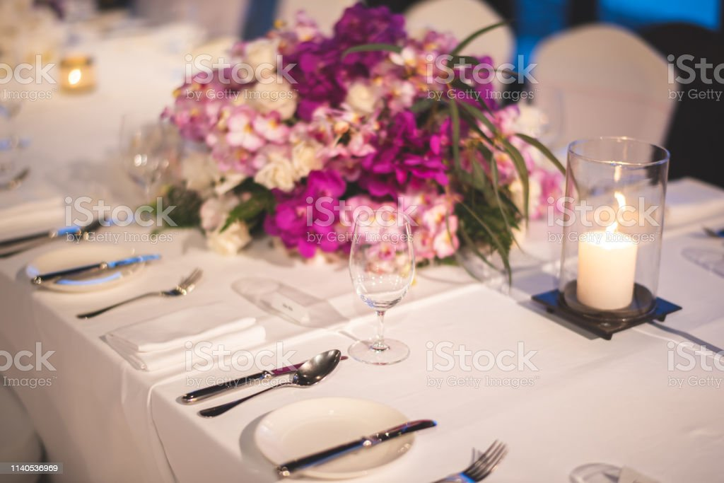 Table setting at a luxury dinner wedding.