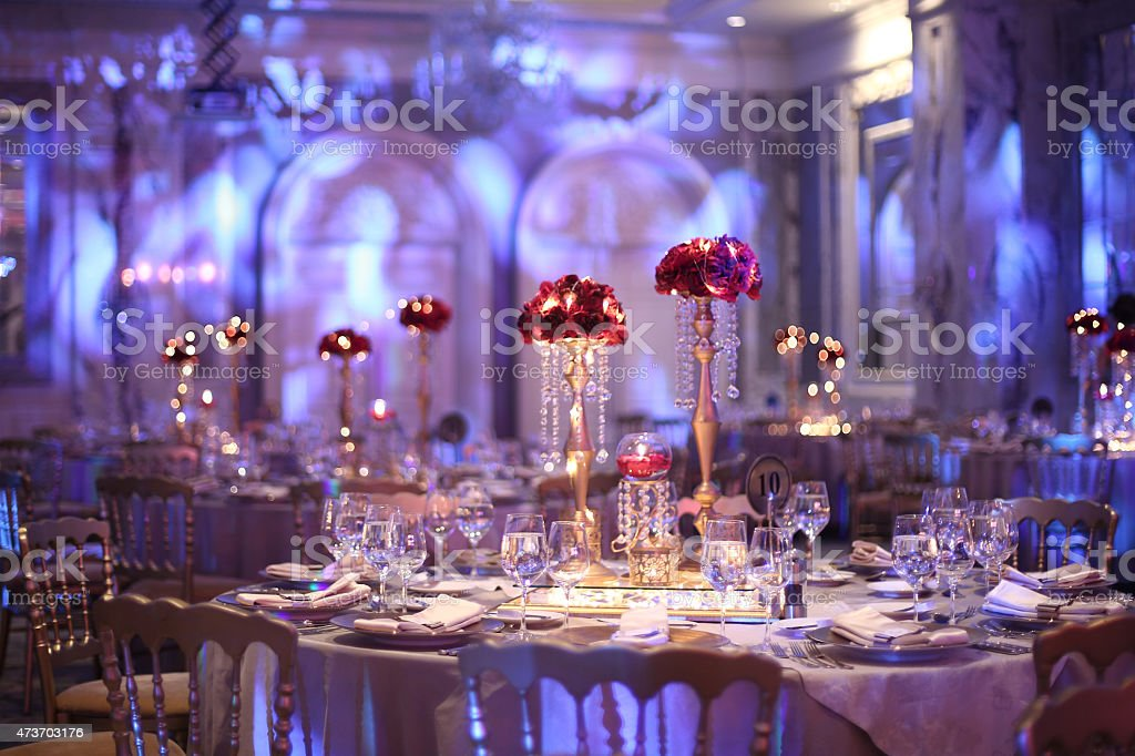 Indoor Wedding Venue Royalty Free Stock Photo: Table Setting At A Luxury Wedding Reception Stock Photo