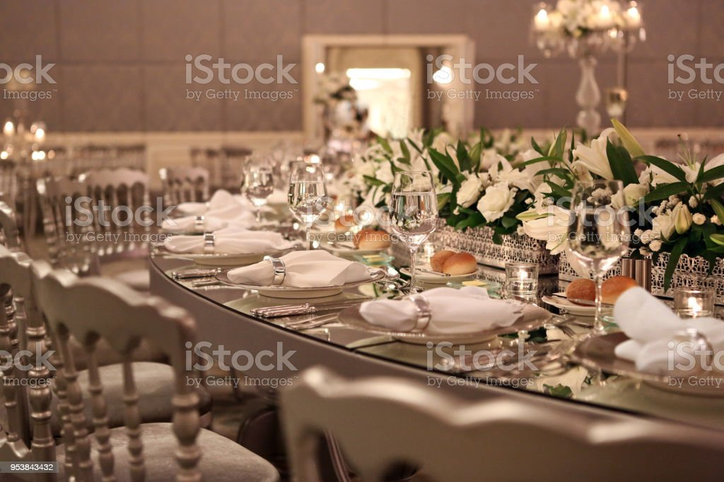 Table Setting At A Luxury Wedding Reception Stock Photo More