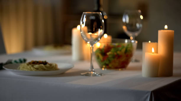 table setting background, dinner and burning candles, celebration in restaurant - date night stock pictures, royalty-free photos & images