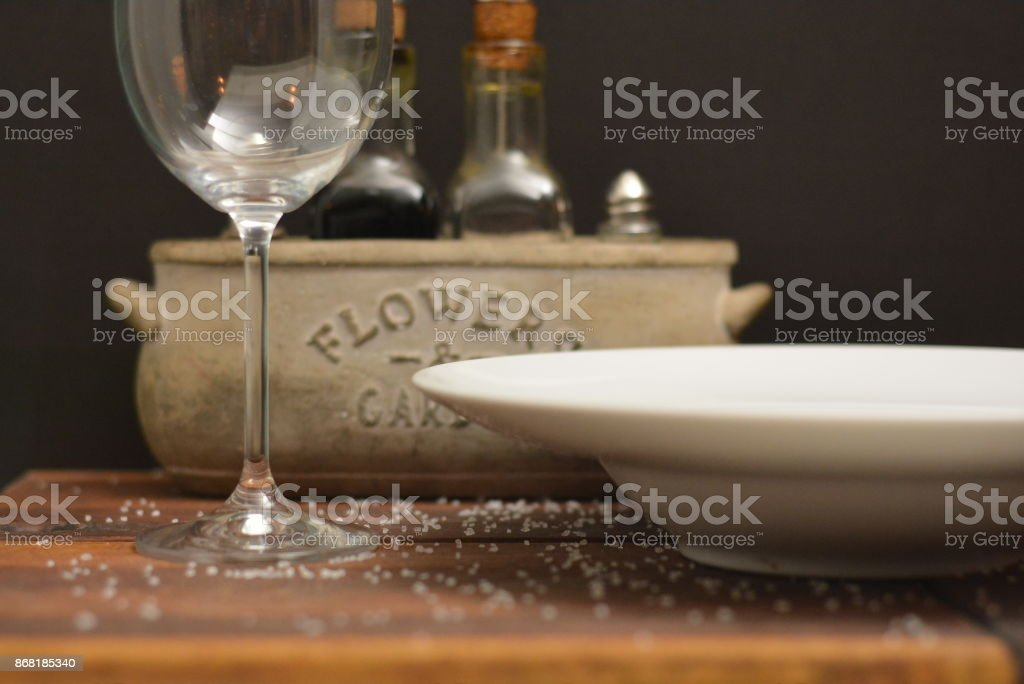 Table Setting Cutlery Plate Fork Spoon stock photo
