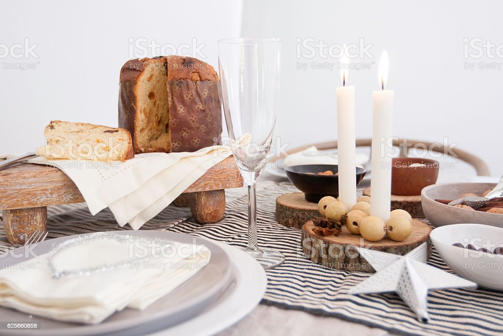 Table setting decoration for Christmas gathering stock photo