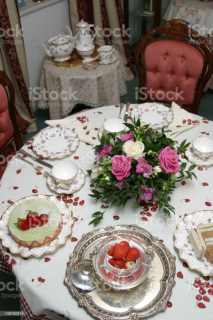 Cake Rose - Flower Silver - Metal Strawberry Afternoon Tea. Table Setting ... & Table Setting English Tea Time Stock Photo u0026 More Pictures of ...