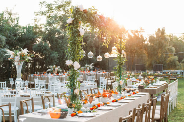 Table setting for an event party or wedding reception Table setting for an event party or wedding reception wedding stock pictures, royalty-free photos & images