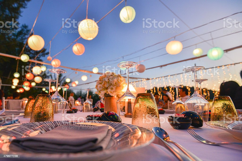 Table setting for an event party or wedding reception