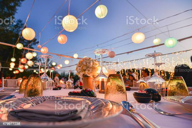 Photo of Table setting for an event party or wedding reception