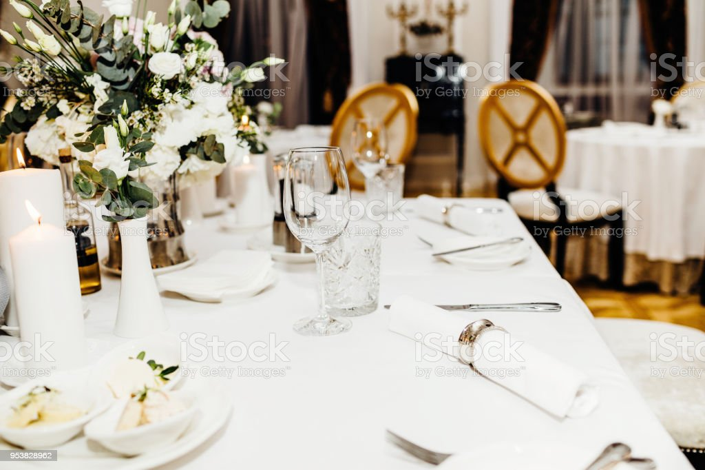 Table Setting For An Event Party Or Wedding Reception Stock Photo