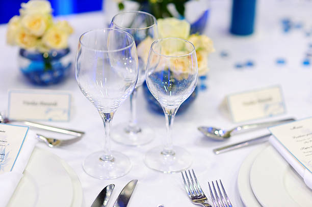 table setting for an event party - blue table setting stock photos and pictures