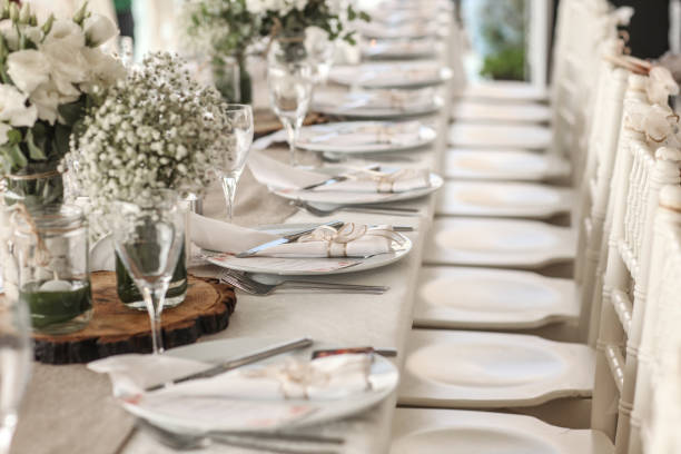 Table setting for an event stock photo