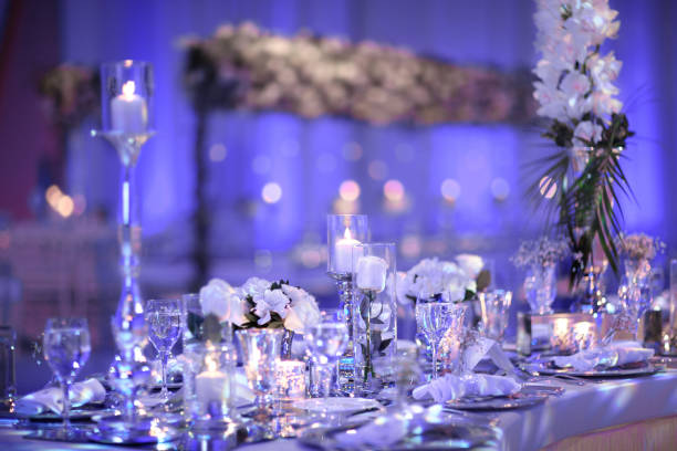 table setting for an event - blue table setting stock photos and pictures